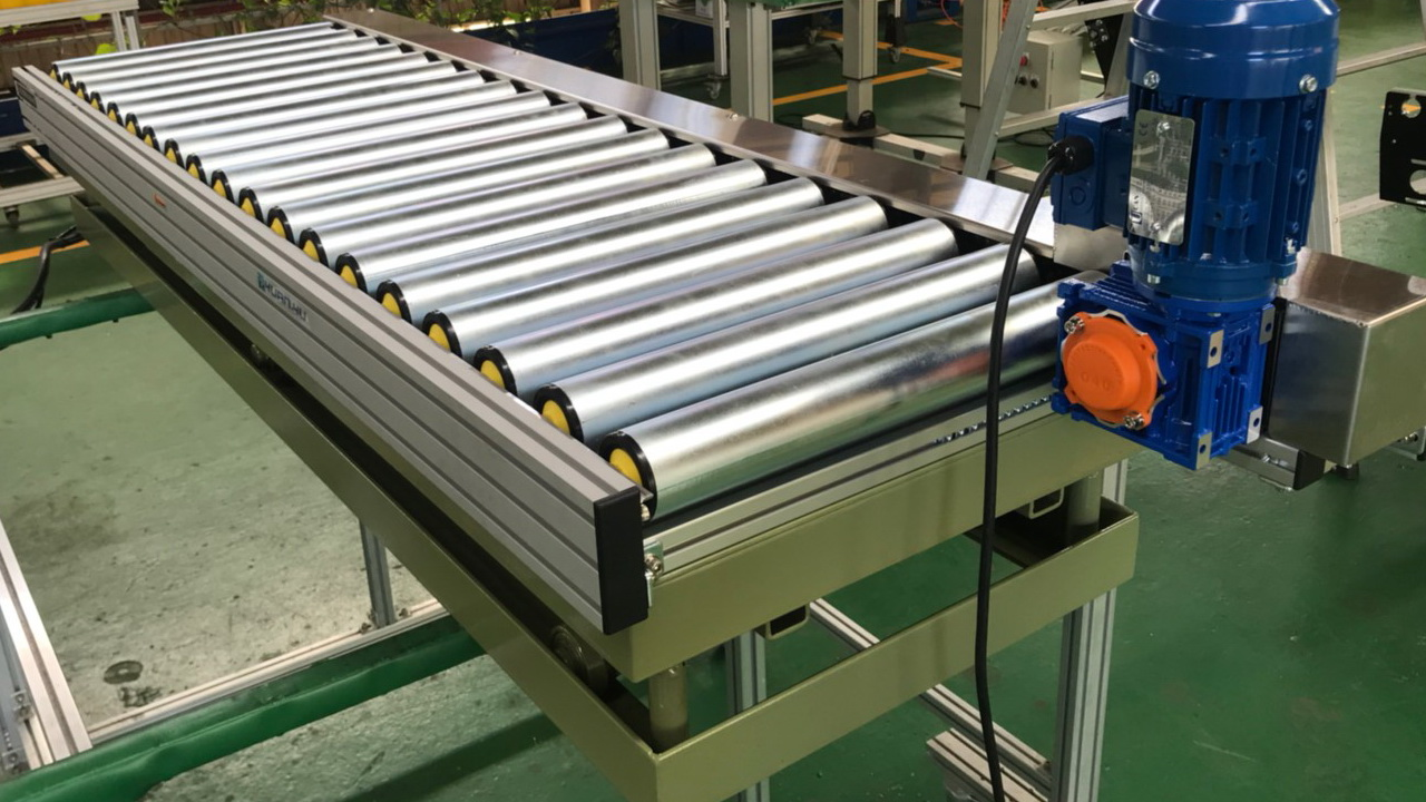 Aluminum extrusion power hydraulic lifting roller conveyor-Lichen Conveyor Equipment Co., Ltd.